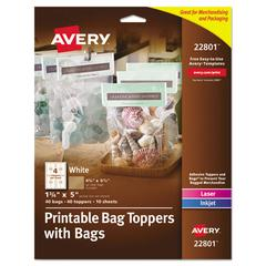 Printable Bag Toppers with Bags, 1 3/4 x 5, White, 40/Pack