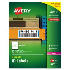 Permanent ID Labels w/TrueBlock Technology, Laser, 3 1/4  x 8 3/8 , 150/Pack
