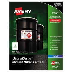 Full-Sheet UltraDuty GHS Chemical Labels, Inkjet, 8 1/2 x 11 , 50/Pack