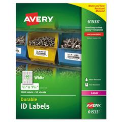 Permanent ID Labels w/TrueBlock Technology, Laser, 2/3  x 1 3/4 , 3000/Pack