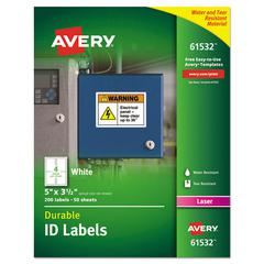 Permanent ID Labels w/TrueBlock Technology, Laser, 3 1/2 x 5, 200/Pack