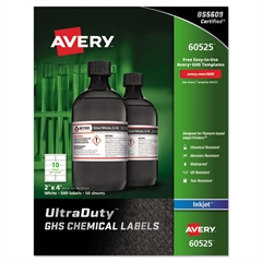Easy Peel UltraDuty GHS Chemical Labels, Inkjet, 2 x 4 , 500/Pack