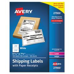 Shipping Labels with Paper Receipt Bulk Pack, 5 1/16 x 7 5/8 , White, 100/Box