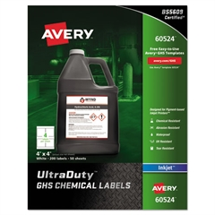 Easy Peel UltraDuty GHS Chemical Labels, Inkjet, 4 x 4 , 200/Pack