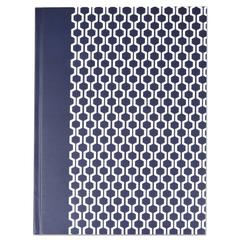 Casebound Hardcover Notebook, 10 1/4 x 7 5/8, Dark Blue with Hexagon Pattern