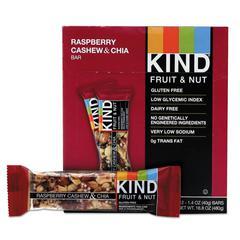 Fruit and Nut Bars, Raspberry Cashew & Chia, 1.4 oz Bar, 12/Box