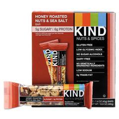 Nuts and Spices Bar, Honey Roasted Nuts/Sea Salt, 1.4 oz Bar, 12/Box