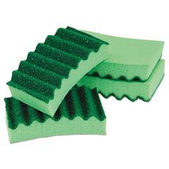 Durable Heavy Duty Scrub Sponges, 4 1/5 x 2 1/2 x 9/10, Green, 4/Pack