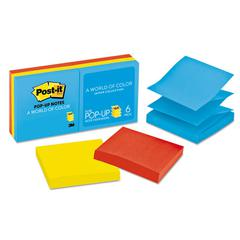 Post-it Original Pop-up Refill, 3 x 3, Assorted Jaipur Colors, 100-Sheet, 6/Pack