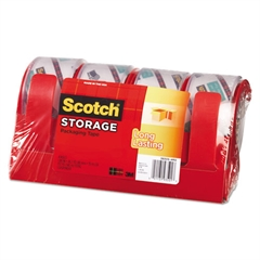 "Scotch Moving & Storage Tape, 1.88"" x 38.2yds, 3"" Core, Clear, 4 Rolls/Pack"