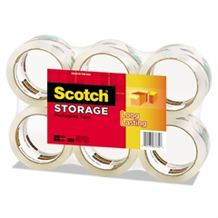 "Moving & Storage Tape, 1.88"" x 54.6yds, 3"" Core, Clear, 6 Rolls/Pack"