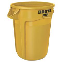 Rubbermaid Commercial Round Brute Container, Plastic, 32 gal, Yellow