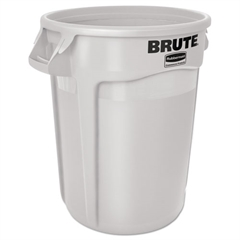 Rubbermaid Commercial Round Brute Container, Plastic, 32 gal, White