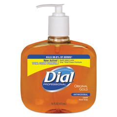 Dial Professional Gold Antimicrobial Hand Soap, Floral Fragrance, 16oz Pump Bottle, 12/Carton