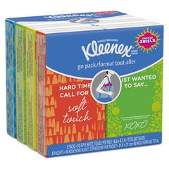 Facial Tissue Pocket Packs, 3-Ply, White, 10/Pouch, 8 Pouches/Pack, 12/Ctn