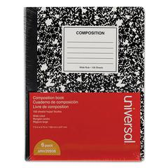 Composition Book, College Rule, 9 3/4 x 7 1/2, White, 100 Sheets, 6/Pack