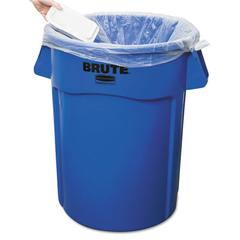 Rubbermaid Commercial Brute Vented Trash Receptacle, Round, 44 gal, Blue