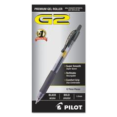 G2 Premium Retractable Gel Ink Pen, Refillable, Black Ink, Bold, Dozen