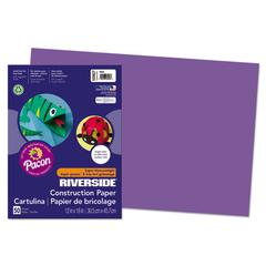 Pacon Riverside Construction Paper, 76 lbs., 12 x 18, Violet, 50 Sheets/Pack