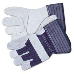Split Leather Palm Gloves, Large, Gray, Pair