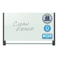 Evoque Magnetic Glass Marker Board with Black Aluminum Frame, 74 x 42, White