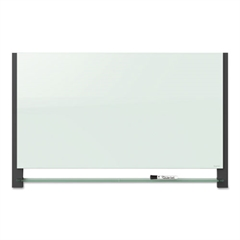 Evoque Magnetic Glass Marker Board with Black Aluminum Frame, 39 x 22, White