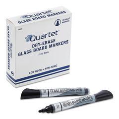 Premium Glass Board Dry Erase Marker, Bullet Tip, Black, Dozen