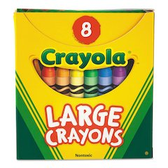 Large Crayons, Tuck Box, 8 Colors/Box