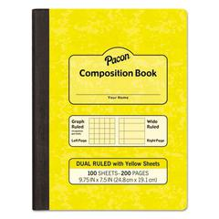 "Composition Book, 7 1/2"" x 9 1/4"", Subject, 100 Sheets, Yellow"