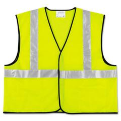 MCR Safety Class 2 Safety Vest, Fluorescent Lime w/Silver Stripe, Polyester, 2X-Large
