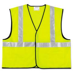 Class 2 Safety Vest, Fluorescent Lime w/Silver Stripe, Polyester, X-Large