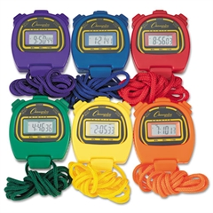 Champion Sports Water-Resistant Stopwatches, 1/100 Second, Assorted Colors, 6/Set