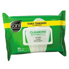 Table Turner Wet Wipes, 7 x 11 1/2, White, 90 Wipes/Pack, 12 Packs/Carton