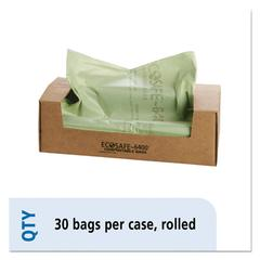 EcoSAfe-6400 Compostable Compost Bags, .85mil, 48 x 60, Green, 30/Box
