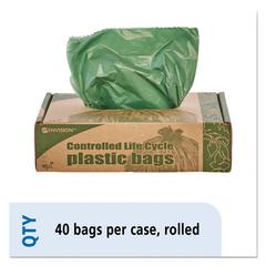 Eco-Degradable Plastic Trash Garbage Bag, 33gal, 1.1mil, 33 x 40, Green, 40/Box