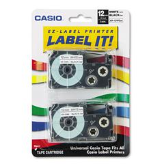 Casio Tape Cassettes for KL Label Makers, 12mm x 26ft, Black on White, 2/Pack