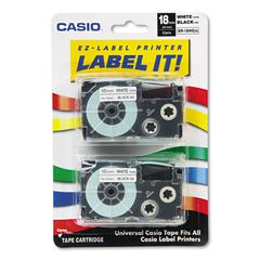 Tape Cassettes for KL Label Makers, 18mm x 26ft, Black on White, 2/Pack
