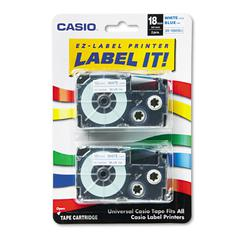 Tape Cassettes for KL Label Makers, 18mm x 26ft, Blue on White, 2/Pack