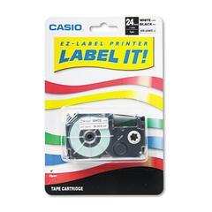Casio Tape Cassette for KL8000/KL8100/KL8200 Label Makers, 24mm x 26ft, Black on White