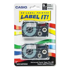 Tape Cassettes for KL Label Makers, 9mm x 26ft, Black on Silver, 2/Pack