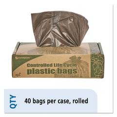 Eco-Degradable Plastic Trash Garbage Bag, 39gal, 1.1mil, 33 x 44, Brown, 40/Box