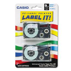 Casio Tape Cassettes for KL Label Makers, 9mm x 26ft, Blue on White, 2/Pack