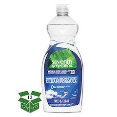 Natural Dishwashing Liquid, Free & Clear, 25 oz Bottle, 12/Carton