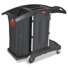 Compact Folding Housekeeping Cart, 22w x 51 3/4d x 44h, Black