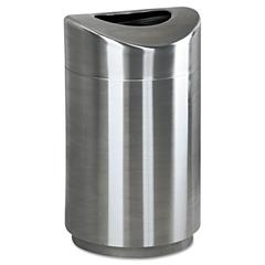 Eclipse Open Top Waste Receptacle, Round, Steel, 30gal, Stainless Steel