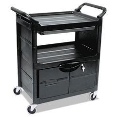 Utility Cart With Locking Doors, Two-Shelf, 33-5/8w x 18-5/8d x 37-3/4h, Black