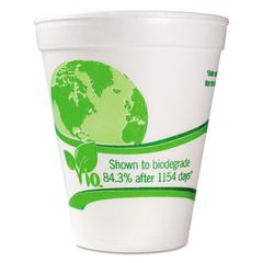 Vio Biodegradable Cups, Foam, 12 oz, White/Green, 1000/Carton