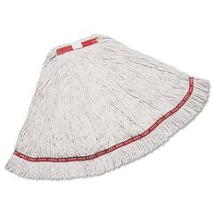 """Web Foot Wet Mop, Cotton/Synthetic, White, Large, 1"""" Red Headband, 6/Carton"""