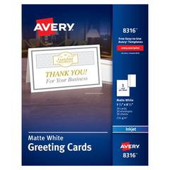 Half-Fold Greeting Cards, Inkjet, 5 1/2 x 8 1/2, Matte White, 30/Box w/Envelopes