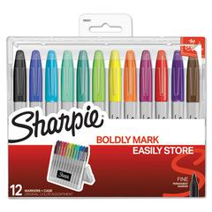 Permanent Markers with Storage Case, Fine, Assorted, Original, 12/Pack